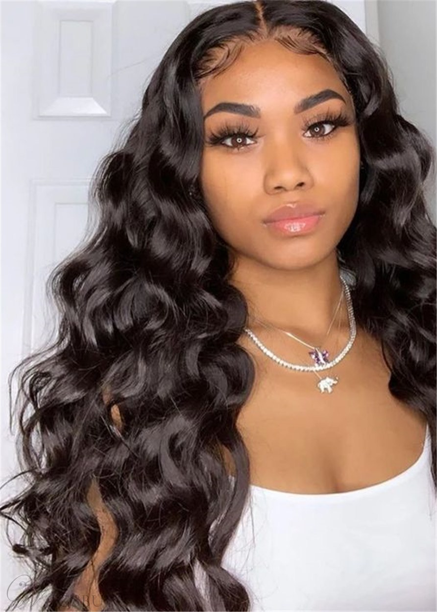 Middle Part Long Wavy Human Hair Women Wigs 22 Inches: M