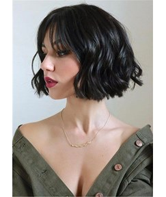 Shot Bob Wavy Synthetic Hair With Bangs Women Wig 12 Inches