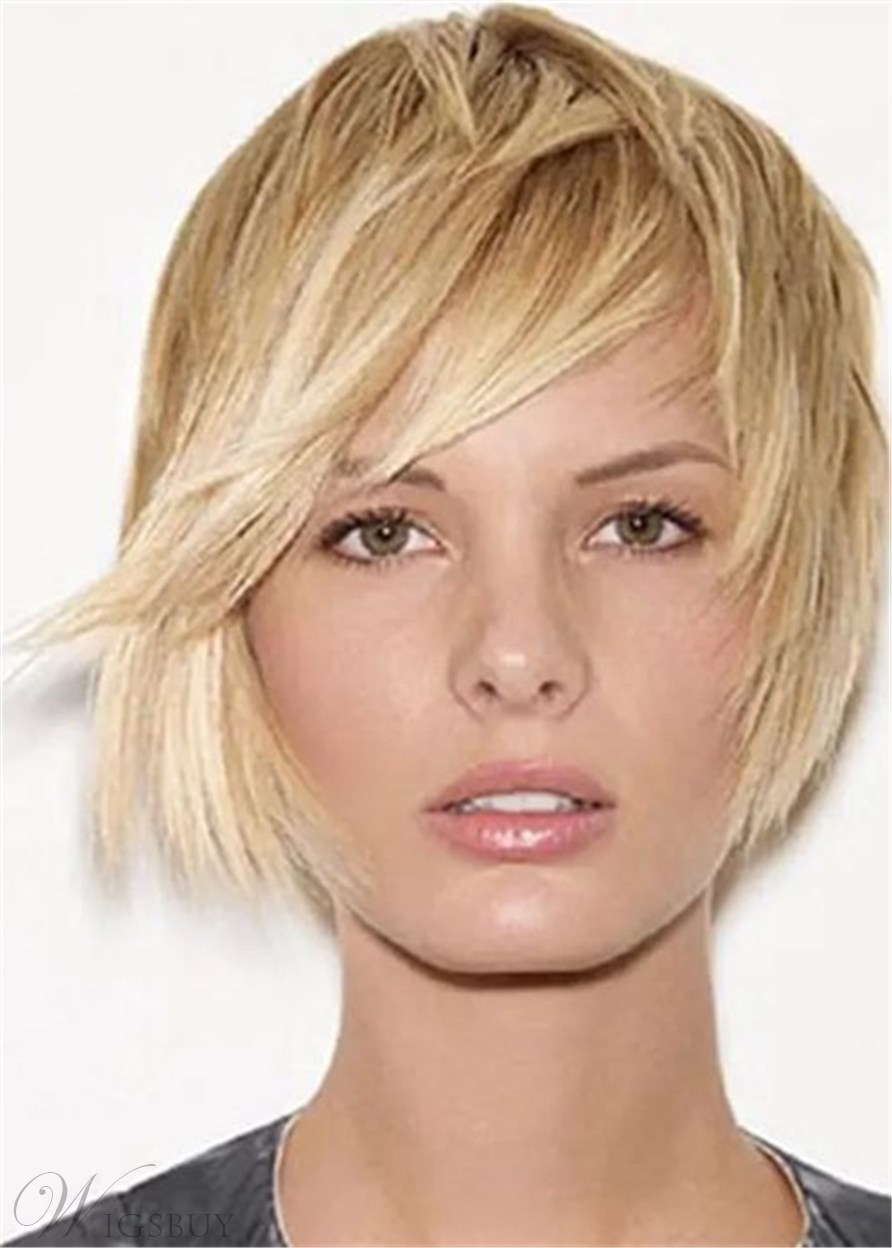 Short Layer Cut Natural Straight Synthetic Hair With Bangs Women Wig 10Inches
