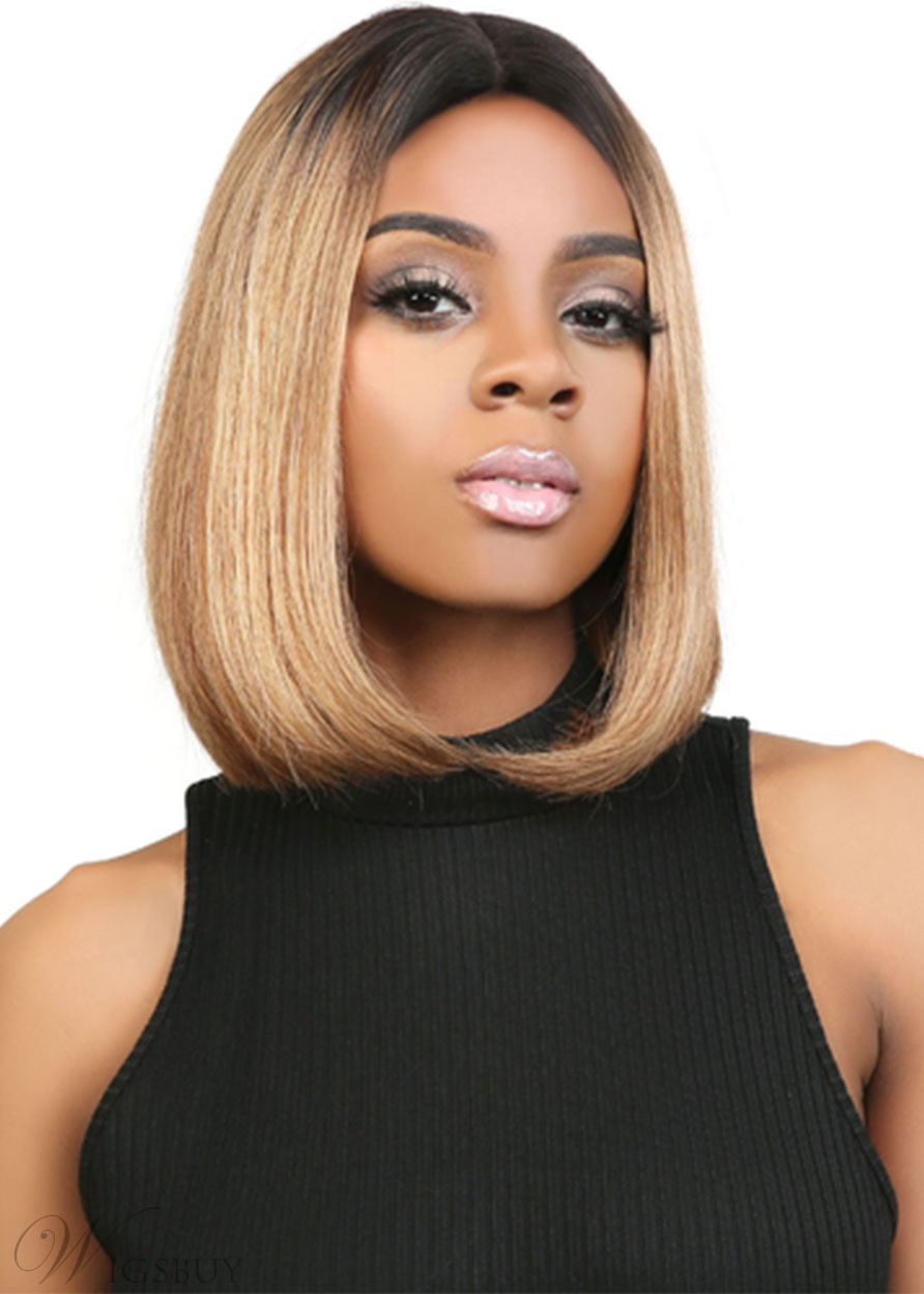 Short Bob Hairstyles Women's Middle Part Straight Human Hair Lace Front Wigs 14Inch