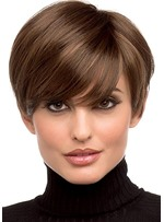 Pixie Cut Hairstyles Women's Side Part Short Length Human Hair Lace Front Wigs With Bangs 8Inch
