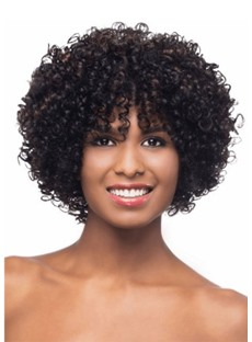 Women's Short Length Afro Bob Hairstyles Synthetic Hair Wigs With Bangs Capless Wigs 14Inch