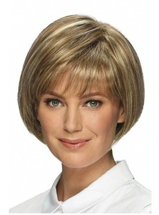 Short Bob Hairstyles Women's Straight Human Hair Wigs With Bangs Lace Front Cap Wigs 10Inch