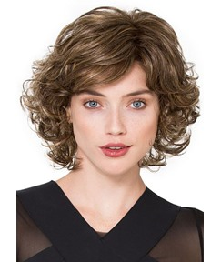Sexy Women's Side Part Short Bob Curly Hairstyles Human Hair Lace Front Cap Wigs 14Inch