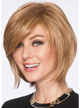 Women's Short Softly Layered Hairstyles Straight Human Hair Wigs Side Part Bangs Lace Front Wigs 12Inch