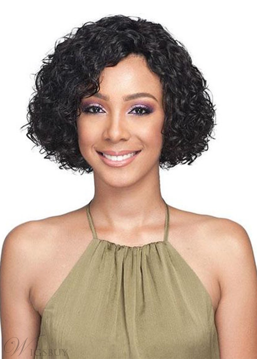 Women's Short Length Bob Hairstyles Full Head Curly Synthetic Hair Capless Wigs 12Inch