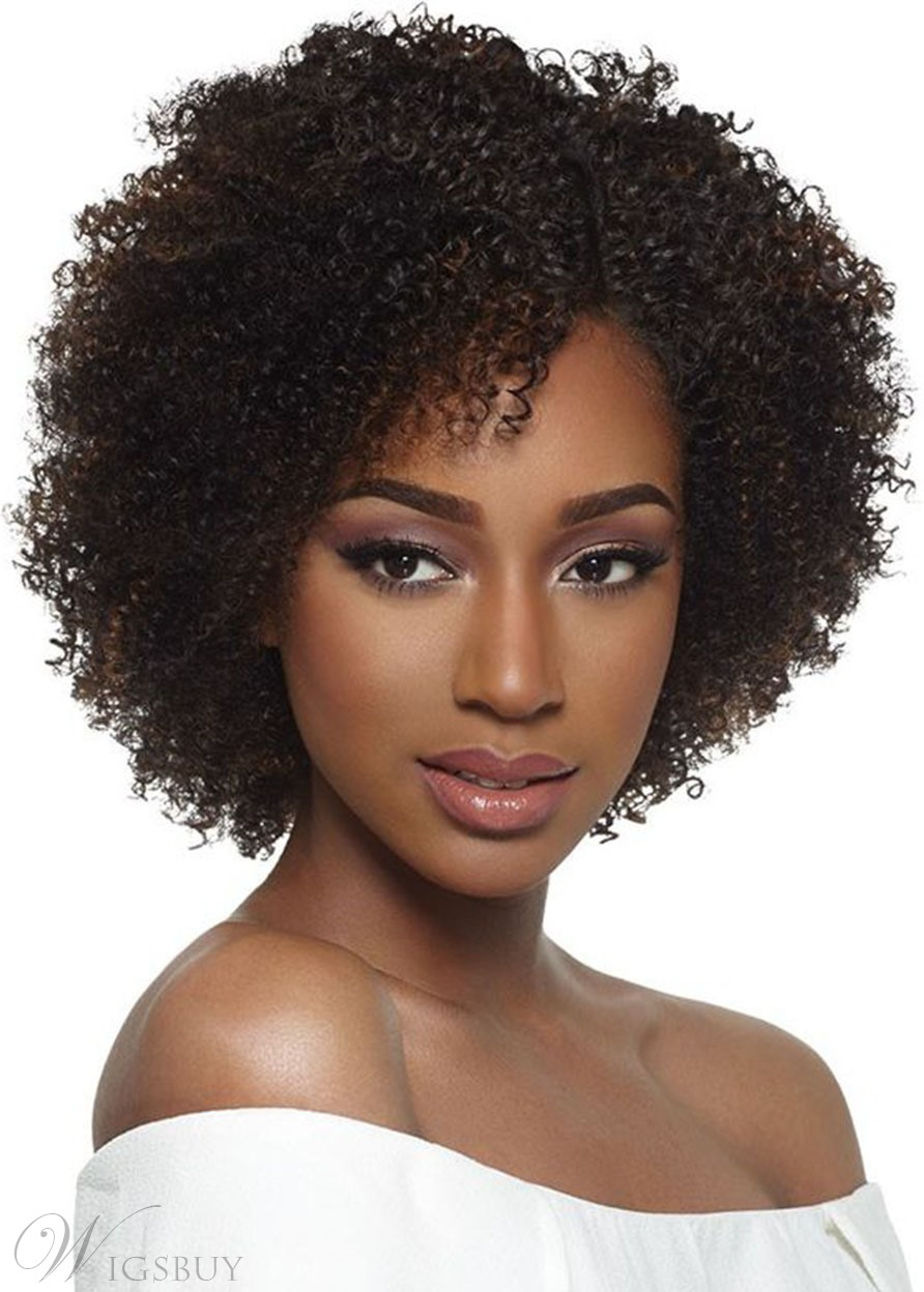 Women's Short Bob Hairstyles Afro Curly Wigs with Bangs Short Length Human Hair Capless Wigs 12Inch