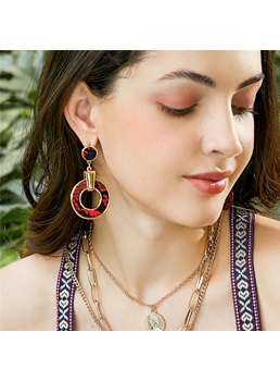 European Style Adult Women's Serpentine Pattern Alloy E-Plating Drop Earrings