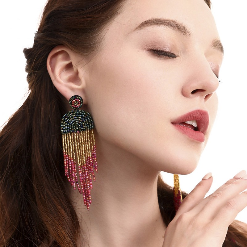 Ethnic Style Women/Ladies Color Block Pattern Tassel Drop Earrings