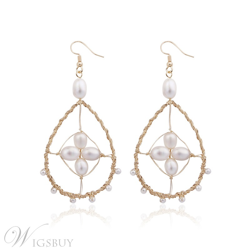 Sweet Style Adult Women's Bronze Pearl Inlaid Technic Drop Earrings For Wedding/Party/Gifts