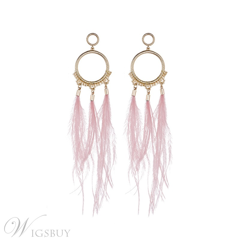 Vintage Style Women/Ladies Feather Tassel Pattern Alloy E-Plating Drop Earrings