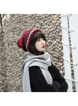Women's Patchwork Pompon Stripe Brimless Cone Crown Woolen Yarn Knitted Hats