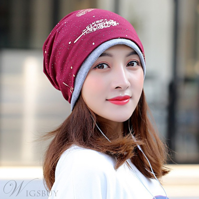 Women's Cotton Print Embellishment Brimless Type Casual Style Skullies & Beanies Turban