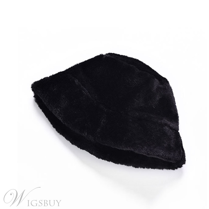 Women's Plain Pattern Wide Brim Sweet Style Flat Crown Fur Bucket Hat