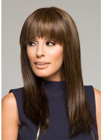 Women's Long Bob Hairstyles Natural Looking Straight 100% Human Hair Lace Front Wigs With Bangs 22Inch