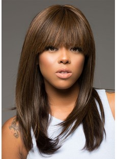 Natural Looking Women's Bob Hairstyles Long Length Straight Human Hair Wigs With Bangs Lace Front Wigs 22Inch
