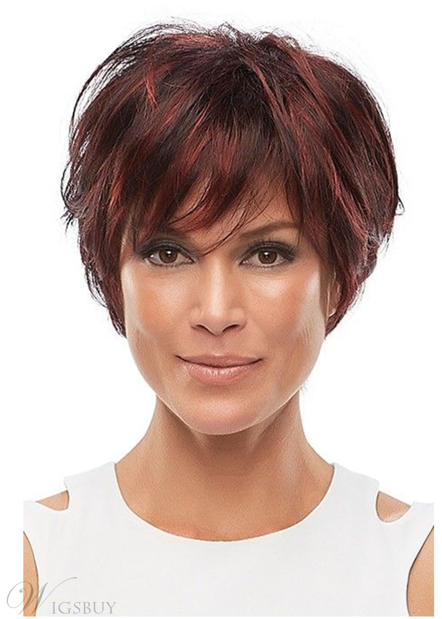 Women's Short Length Pixie Boy Cut Hairstyles Straight Synthetic Hair Wigs Capless Wigs 12Inch