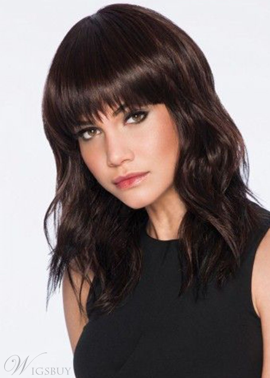 Medium Layered Hairstyle Women's Wavy Synthetic Hair With Bangs Natural Looking Capless Wigs 18Inch