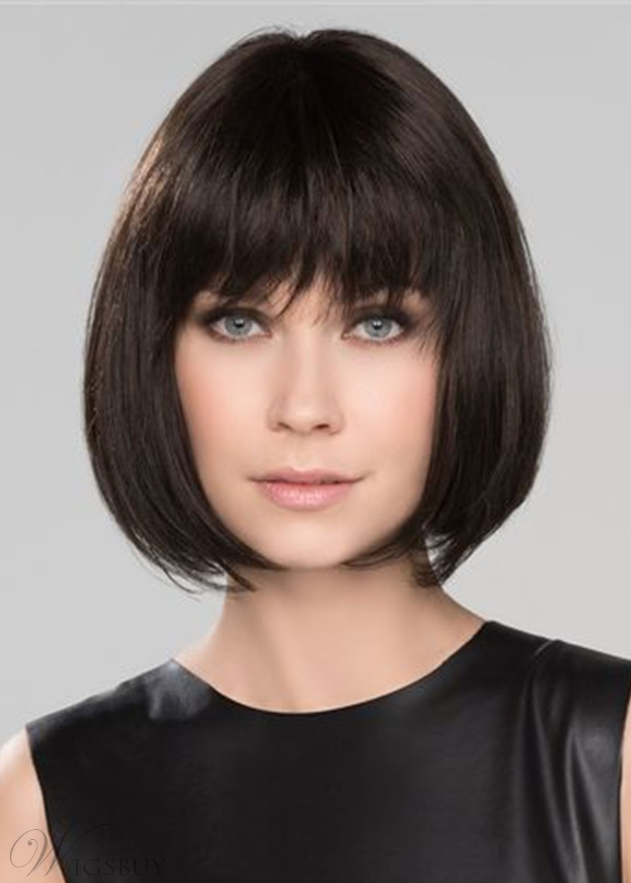 Short Bob Hairstyles Women's Natural Looking Straight Synthetic Hair Wigs With Bangs Capless Wigs 12Inch