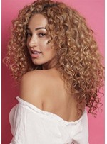 Women's Long Length Hairstyles Blonde Curly Synthetic Hair Wigs With Bangs Capless Wigs 20Inch