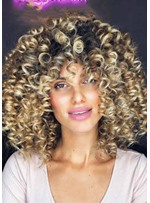 Short Afro Curly Wigs with Bangs for Women Kinky Curly Synthetic Hair Capless Wigs 16Inch