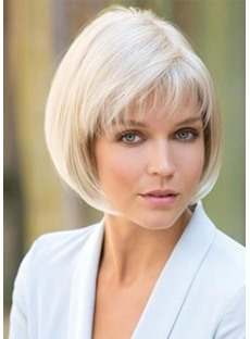 Women's 613 Short Bob Hairstyles Straight Synthetic Hair Wigs With Bangs Capless Wigs 10Inch
