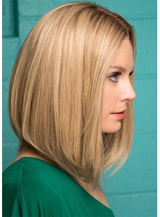 Midde Part Short Bob Hairstyles Blonde Straight Human Hair Wigs Lace Front Cap Wigs 10Inch