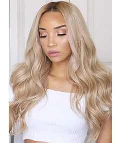 Middle Part Long Wavy Blonde Hair Wigs For Women Body Wave Human Hair Lace Front Wigs 24Inch