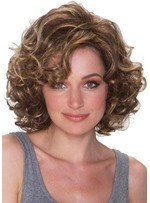 Short Curly Bob Hairstyles Women's Side Part Afro Curly Human Hair Wigs Brown Color Lace Front Cap Wigs 14inch