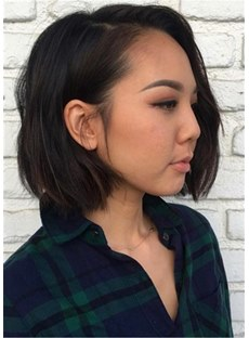 Short Bob Side Part Human Hair Wavy Wig 14 Inches