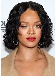 Rihanna Hairstyles Short Bob Curly Synthetic Hair Women Capless Wig 10 Inches