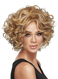 Short Layered Hairstyles Curly Bob With Side Bangs Women's Human Hair Lace Front Wigs 14Inch