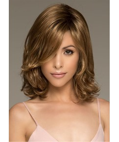 Women's Medium Layered Hairstyles Blonde Color Wavy 100% Human Hair Wigs Lace Front Cap Wigs 16Inch