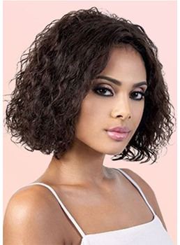 Short Bob Hairstyle Women's Kinky Curly Synthetic Hair Wigs Curly Capless Wigs 14Inch
