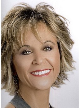 Short Shaggy Bob Layered Hairstyles Women' s Synthetic Hair Wigs With Banges Wavy Capless Wigs 10Inch
