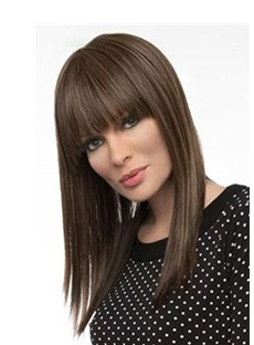 Medium Bob Hairstyles Women's Straight Synthetic Hair Wigs With Bangs Natural Looking Capless Wigs 18Inch