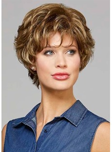 Fabulous Women's Short Curly Hairstyles Blonde 100% Human Hair Lace Front Cap Wigs With Bangs 10Inch