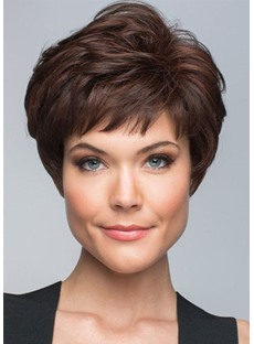 Short Bob Hairstyles Woomen's Short Layered Straight Human Hair Wigs Lace Front Cap Wigs With Bangs 8Inch