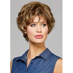Fabulous Womens Short Curly Hairstyles Blonde 100% Human Hair Lace Front Cap Wigs With Bangs 10Inch