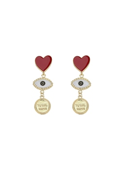 Women's Heart Shaped Pattern European Style Alloy E-Plating Technic Drop Earrings