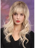 Liight Cilor Long Wavy Synthetic Hair WIth Bangs Women Wig 22 Inches