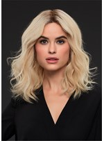 Medium Bob Middle Part Synthetic Hair Wavy Women Wig 16 Inches