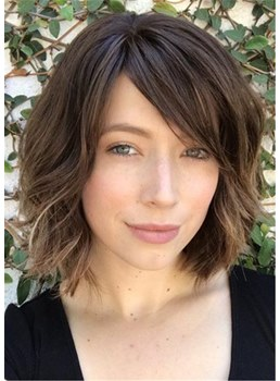 Short Bob Wavy Synthetic Hair With Bangs Women Wig 14 Inches