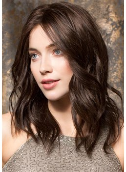 Medium Wavy Bob Human Hair Women Wigs 16 Inches