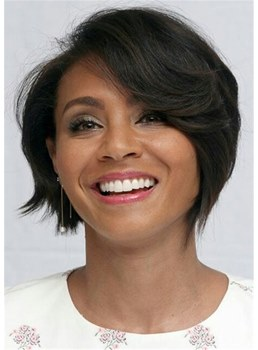 Short Bob Side Part Natural Straight Human Hair Women Wigs 12 Inches