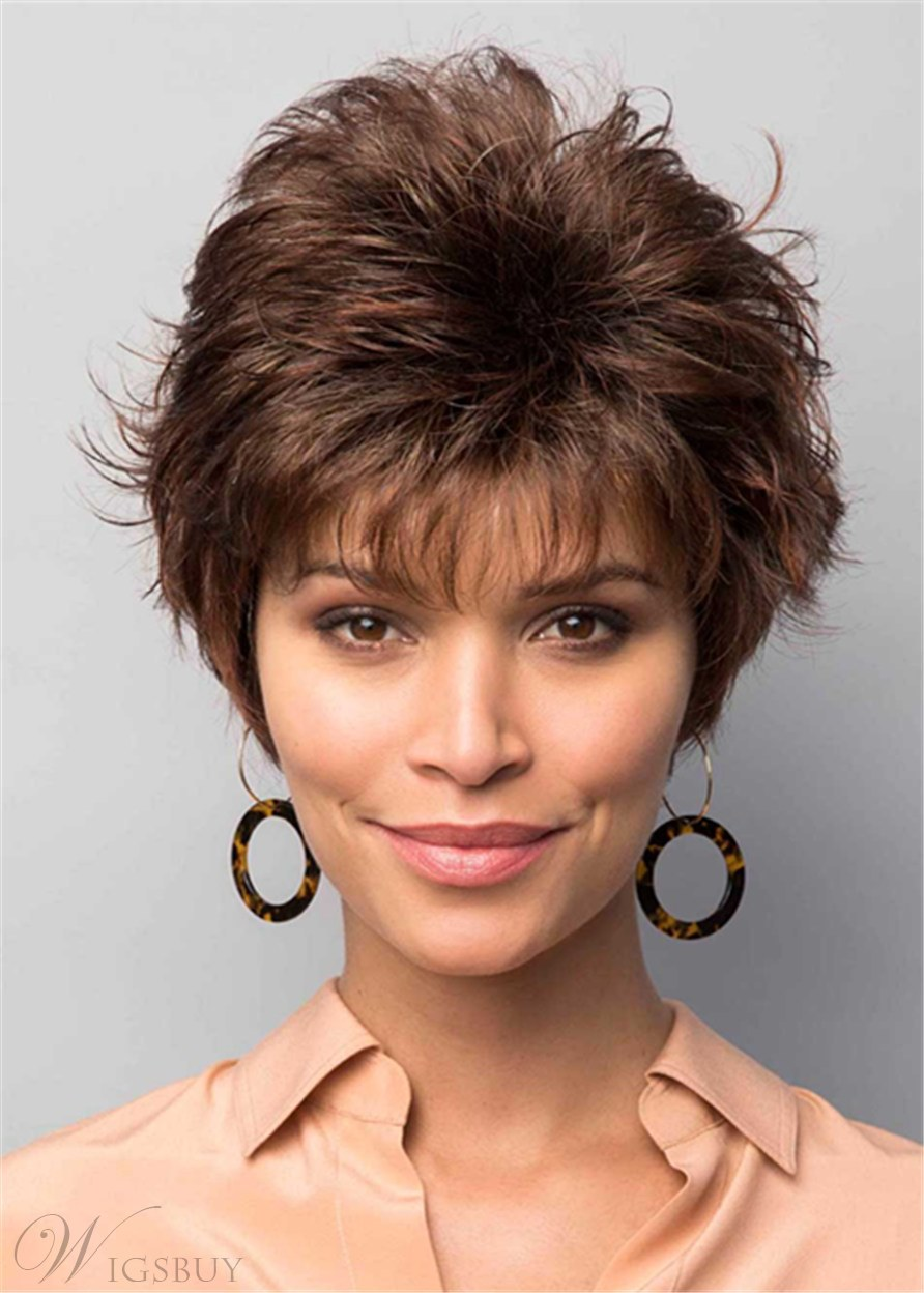 Pixie Cut Short Fluffy Layer Wig Natural Straight Human Hair Women Wig 10 Inches