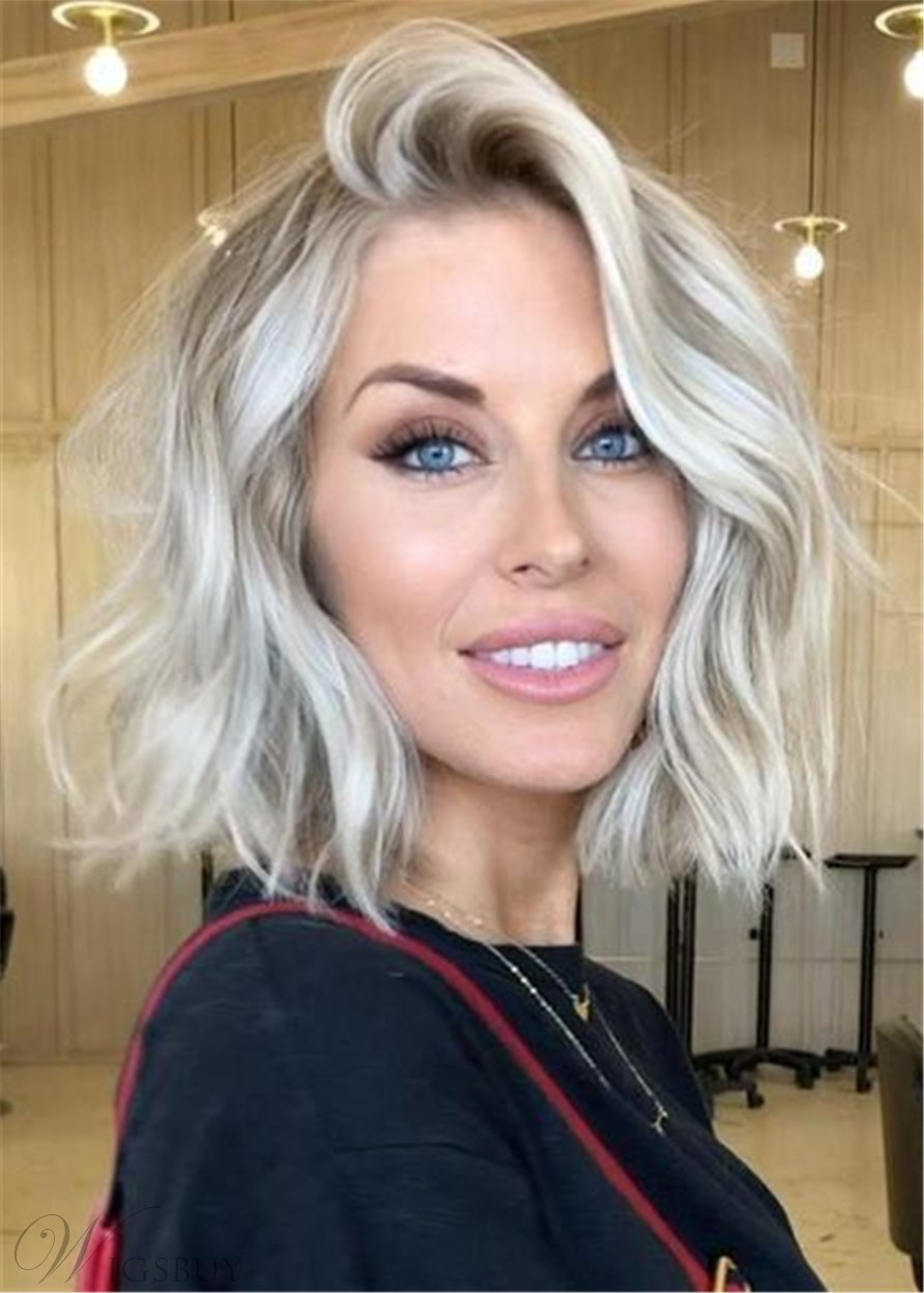 Short Wave Bright White Blond Synthetic Hair Women Capless Wig 14 Inches