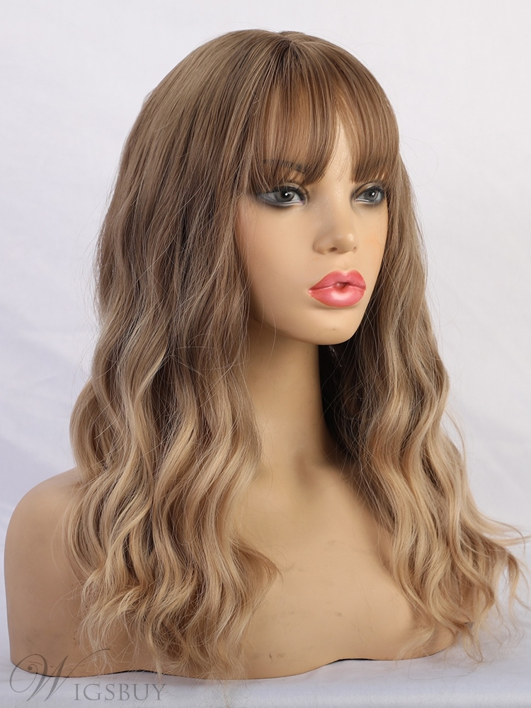 Long Brown Wavy Synthetic Hair With Bangs Women Wig 20 Inches