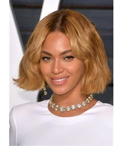 Beyonce Hairstyles Short Bob Wavy Synthetic Hair Women Wig 10 Inches