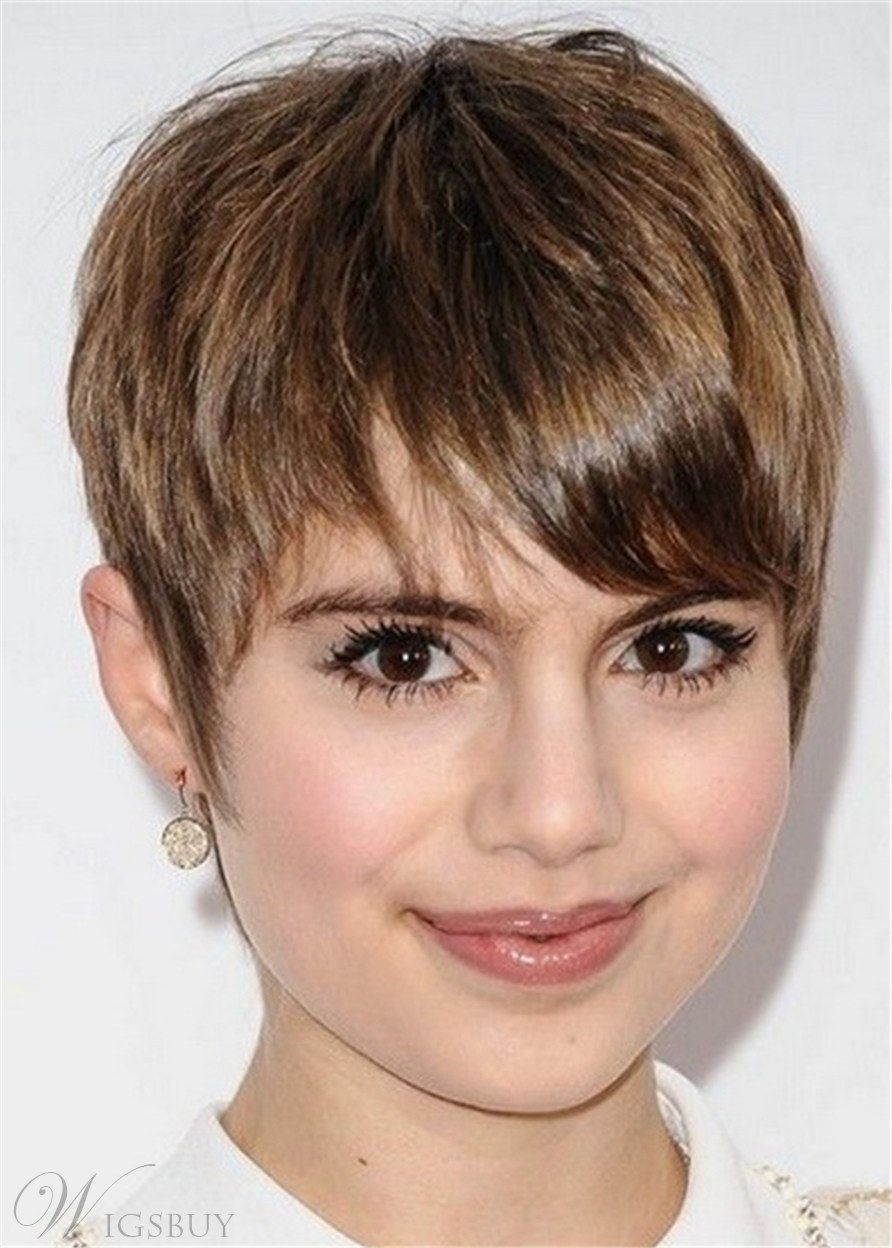 Short Hairstyles For Round Faces Human Hair Natural Straight WIth Bangs Women Wig 10 Inches